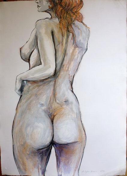 Rückenakt, 80 x 60 cm, Aquarell, Kreide, Filzstift. 2004.