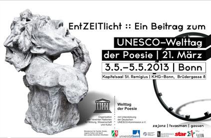 """XIII. UNESCO Welttag der Poesie / Beitrag """"EntZEITlicht"""" mit Ausstellung, Lesungen, Musik, Tanz, Performance / Kunstraum Remigius, an der St. Remigius-Kirche / Kurator: Stefan Zajonz"""