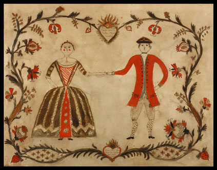 Naive watercolour in celebration of a betrothal or marriage