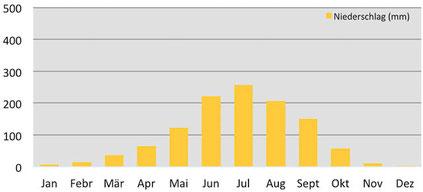 Klimadiagramm durchschnittliche Niederschläge im Phobjikha-Tal