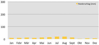 Klimadiagramm Niederschläge in Dat während des Trekkings in Ladakh