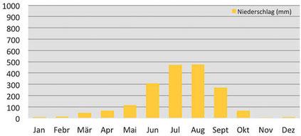 Klimadiagramm durchschnittliche Niederschlagsmenge in Tatopani in Nepal
