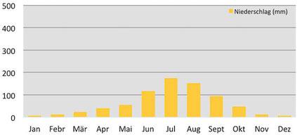 Niederschlagsmenge pro Monat am Minya Konka im Osten von Tibet