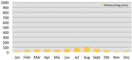 Klimadiagramm durchschnittliche Niederschläge beim Tilicho in Nepal