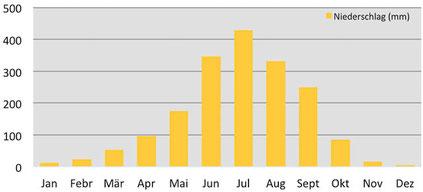 Klimadiagramm durchschnittliche Niederschläge In Paro