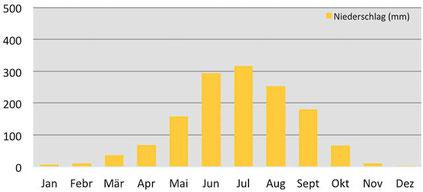 Klimadaten - durchschnittliche Niederschlagsmenge in Bumthang in Bhutan