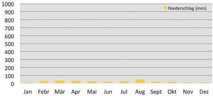 Klimadiagramm durchschnittliche Niederschläge in Dho Tarap in Dolpo, Nepal