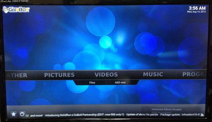 GeeBoxのトップ画面。今回はミュージックアドオンを使う