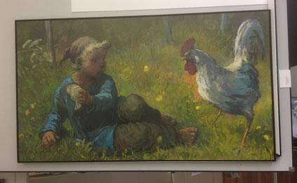 Bild eingelegt in L-Profil. Schlichter Bilderrahmen: Kind mit  Huhn von K.Schenk