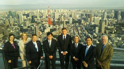 JSBC Chief Director Mr. Ookura, Director Mr. Nagatsu, Ambassador H.E. dh Dr. Ana POLAK PETRIČ,  President H.E. Mr. Borut Pahor, JSBC Honorary Director Mr. Ishigure