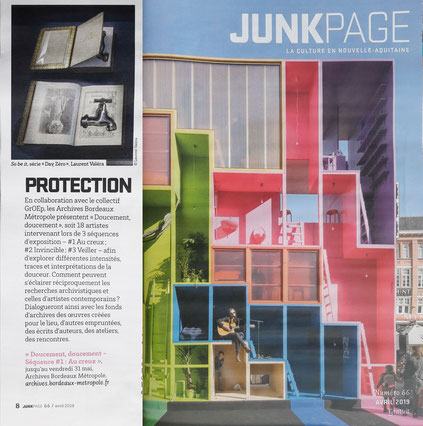 """Junkpage Avril 2019 - article pour l'exposition """"Doucement doucement"""" aux Archives de Bordeaux Métropole"""