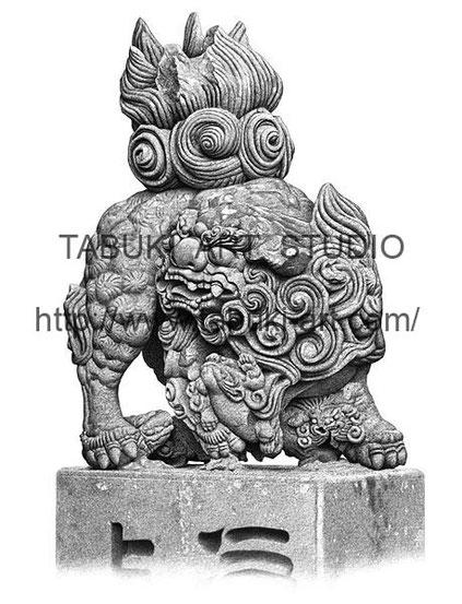 大分県国東市富来にある富来神社の唐獅子,石像