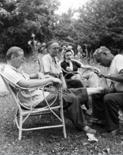 (L-R) Arthur Mahoney, Margaret Craske, Thalia Mara, and Joe Pilates ; photo by Tom Post, 1947 -Jacobs Pillow Archive