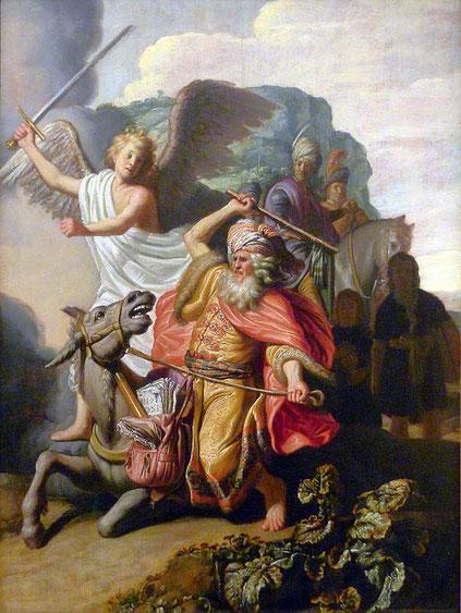 Sur le chemin qui le mène au roi de Moab, un ange se poste à 3 reprises devant l'ânesse de Balaam complètement affolée. Parce qu'elle refuse d'avancer, son maître la bat avec un bâton avant de voir lui-même l'ange, son épée dégainée à la main !