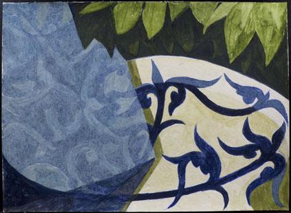 francois beaudry gouache et aquarelle peinture nature morte série table bleue étude 4