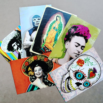 mexiko-postkarte-frida-kahlo-calaca-postkartenset