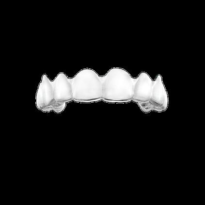 Durchsichtige Schiene für die Nacht hält Zähne an Ort und Stelle