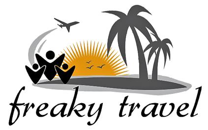 freaky travel Logo, Sonne, untergende Sonne, im Meer untergehende Sonne, jubelnde Menschen