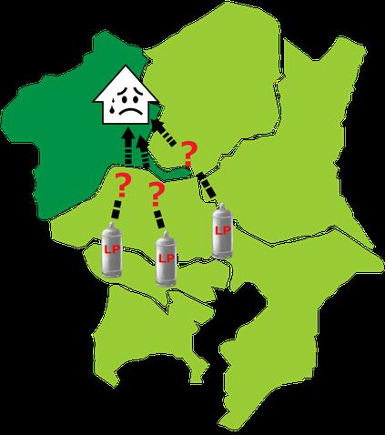 関東地方と遠くのLPガス業者による群馬県への配送の困難さを表すイラスト