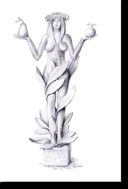 Frau und Pflanze, nackte Frau von Pflanzen umrankt, stehende nackte Frau von einer Pflanze umrankt, Frau hält einen Apfel und eine Birne. Flora die Göttin des Frühlings und der Vegetation,als Bleistiftzeichnung von Bildhauer Gunter Schmidt.