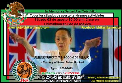 Sábado 03 de agosto 10:00 am. Clase en Chimalhuacan Edo de México. dojo_ishikari@hotmail.com