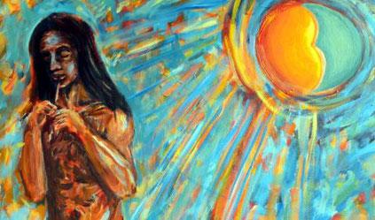 Junger nackter Floetenspieler vor die im Hintergrund vereinigt scheinenden Sonne und Mond