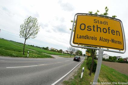Ortseingang Osthofen, kommend aus Rheindürkheim