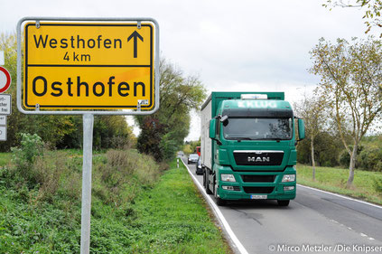 Der Osthofener Orstausgang Richtung Westhofen.