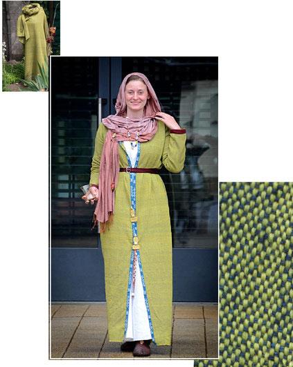 wunderschönes Mantelkleid einer Bajuwarin im 7.Jahrh. aus handgewebtem Stoff
