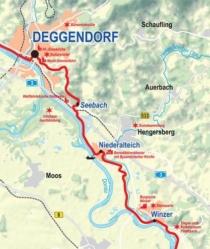 Vergrößerbare Karte Etappe Deggendorf bis Winzer