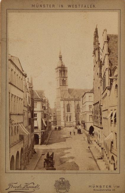 Blick auf die Lambertikirche 1870 mit dem 1881 abgebrochenen Turm - Sammlung Stoffers (Münsterländische Bank Thie - Stadtarchiv)