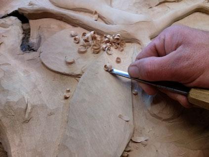 Décoration sculptée en tilleul. Christian Coustenoble