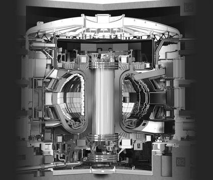 Schéma en coupe du réacteur expérimental thermonucléaire international (ITER), le plus grand tokamak du monde, qui a commencé sa construction en 2013 et devrait commencer à fonctionner pleinement en 2035