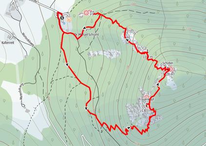 Routenverlauf vom Forsthaus Wartenfels auf den Frauenkopf und den Schober