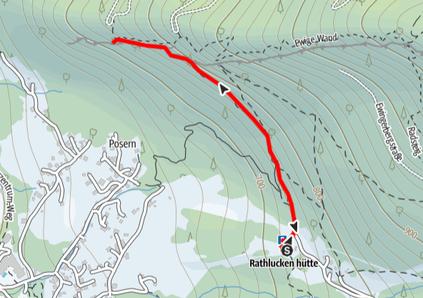 Routenverlauf von der Rathlucken Hütte zur Ewigen Wand