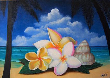 「ハワイの休日」ミクストメディア M15