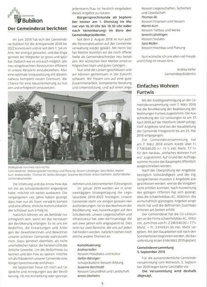 Gemeindezeitung Nr. 89 September 2018