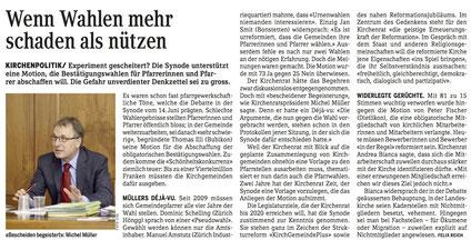 «reformiert.» Zürich vom 24. Juni 2016