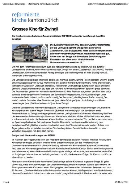 www.zh.ref.ch, Synodebericht 29. November 2016