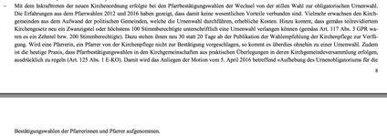 Ausschnitt aus dem Bericht und Antrag des Kirchenrats betreffend Teilrevision der Kirchenordnung vom 22. März 2017.