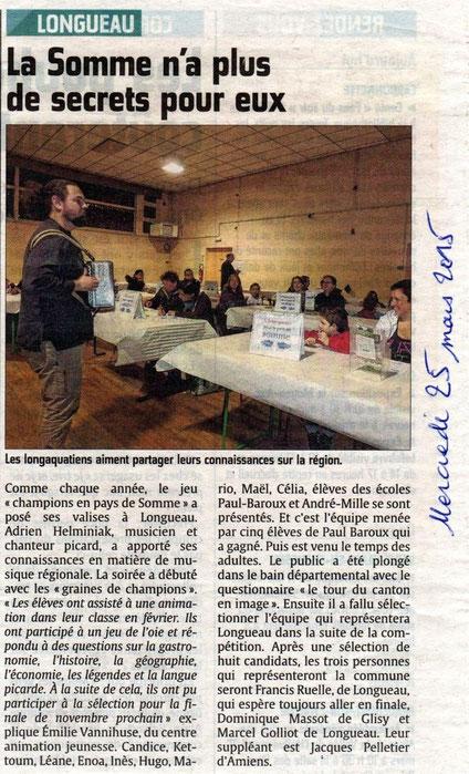 Soirée de Longueau - Article du Courrier Picard - Mars 2015