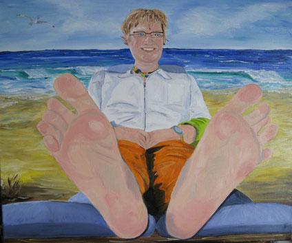 Verkwikkende voeten 50x60 cm 2008     Opdracht voor een pedicure -praktijk VERKOCHT