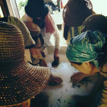 ホイロで茶を揉む村娘たち