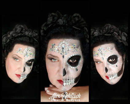 Feier bunter Halloween Make Up - schminken für Aachen Düren Köln Skull Glamor, Glamoween diamond face paint