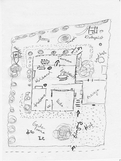 Grundriss von Haus und Garten des Rabennest der Tagesmutter Petra Damerau