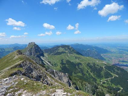 Blick vom Brentenjoch auf den Aggenstein und Breitenberg
