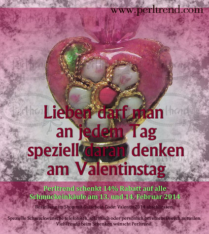 Perltrend Valentinstag 2014, 14% Rabatt auf alle Schmuckeinkäufe am 13. und 14. Februar 2014