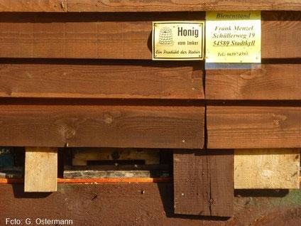 Einflugloch zu den Bienenkästen