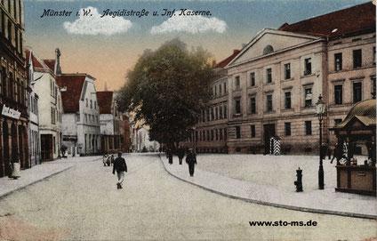 Die Aegidiistraße mit Kaserne - Ansichtskarte um 1900