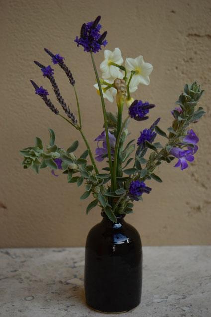small sunny garden, desert garden, in a vase on monday, monday vase, narcissus, autumn colors, lavandula multifida, lavender, limonium perezii, sea statice, eremophila hygrophana, pottery, stoneware, amy myers, ceramics, photography